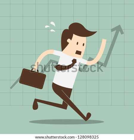 Financial success, running man with a briefcase, line graph uptrend - stock vector