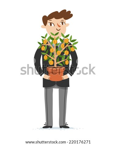 Financier holds money tree, vector illustration - stock vector