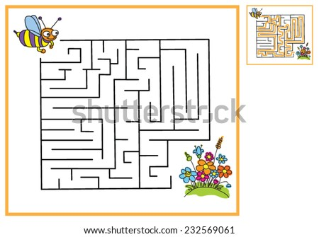Find a way for bees to flowers, maze game - stock vector