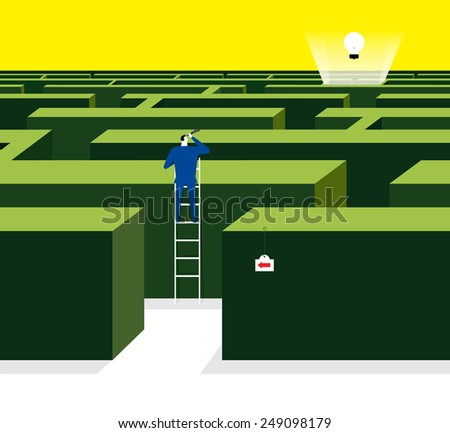 Find a way to get the idea - stock vector