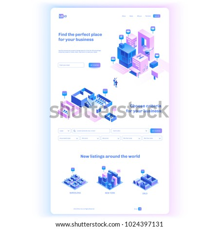 Find commercial real estate for your business. Choose criteria for office. Isometric vector illustration with buildings. Landing page concept