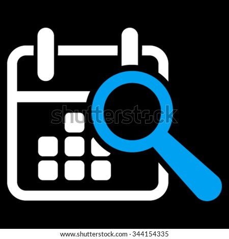 Find Date vector icon. Style is bicolor flat symbol, blue and white colors, rounded angles, black background. - stock vector