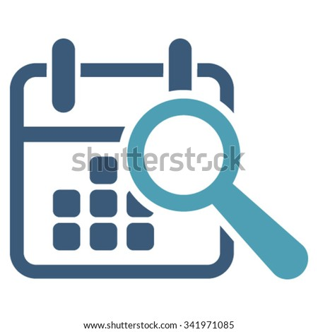 Find Date vector icon. Style is bicolor flat symbol, cyan and blue colors, rounded angles, white background. - stock vector