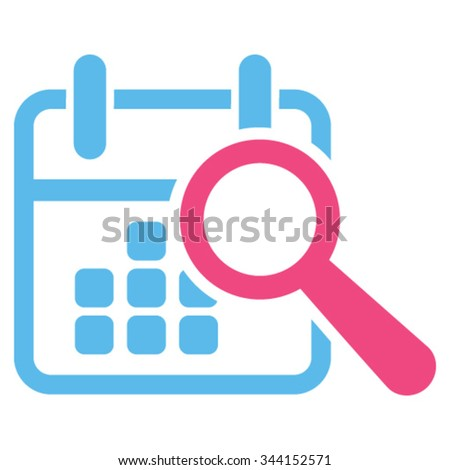 Find Date vector icon. Style is bicolor flat symbol, pink and blue colors, rounded angles, white background. - stock vector
