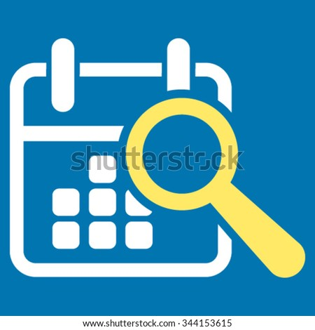 Find Date vector icon. Style is bicolor flat symbol, yellow and white colors, rounded angles, blue background. - stock vector
