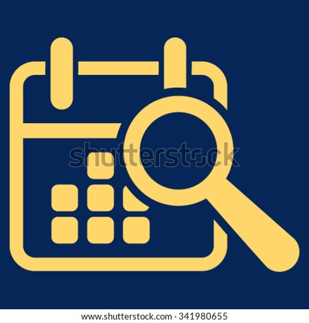 Find Date vector icon. Style is flat symbol, yellow color, rounded angles, blue background. - stock vector