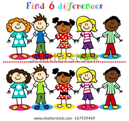 Find 6 difference game or visual puzzle: stick figure cartoon kids, little boys and girls. - stock vector