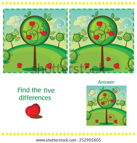 Find differences between the two images with apple tree - stock vector