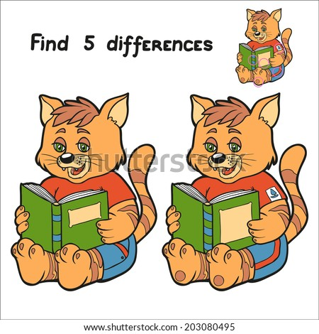 Find 5 differences (cat) - stock vector