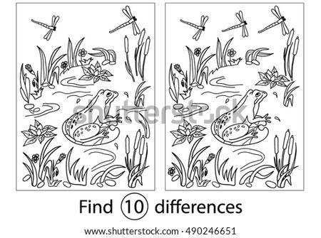 find differences education game for childrenfrog coloring black and white