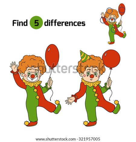 Find differences, game for children: Halloween characters (clown) - stock vector