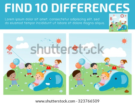 find differences,Game for kids ,find differences,Brain games, children game, Educational Game for Preschool Children, Vector Illustration, kids at playground, kids time. - stock vector