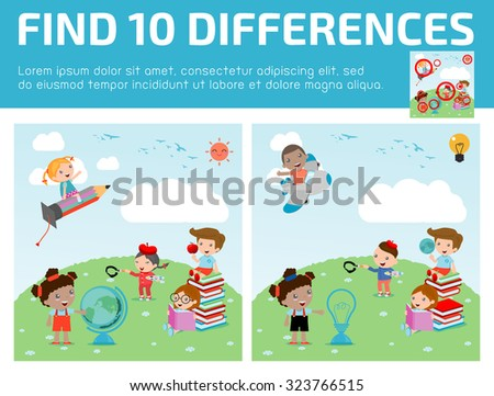 find differences,Game for kids ,find differences,Brain games, children game, Educational Game for Preschool Children, Vector Illustration, education concept, back to school template with kids.  - stock vector