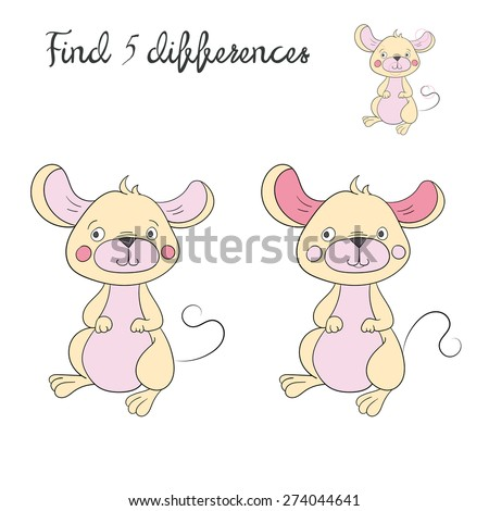Find differences kids layout for game mouse vector illustration