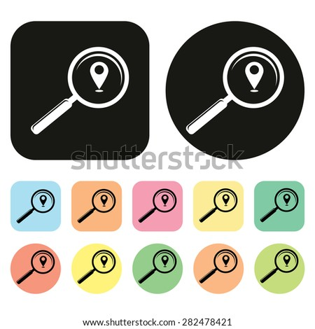 Find location icon. magnifying glass. vector - stock vector