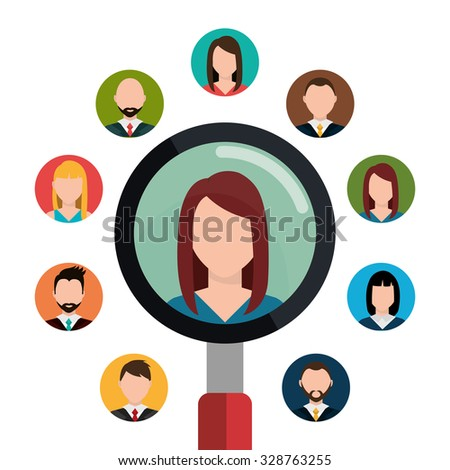 Find person and job interview graphic design, vector illustration