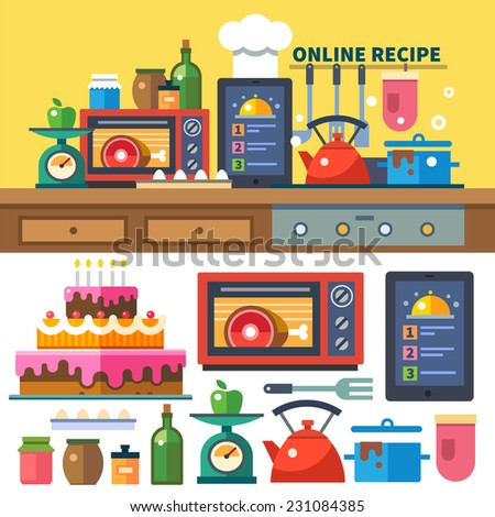 Find recipes online. Kitchen and cooking: food preparation, dishes, oven, stove, spices, jams, scales, vegetables, fruits. - stock vector