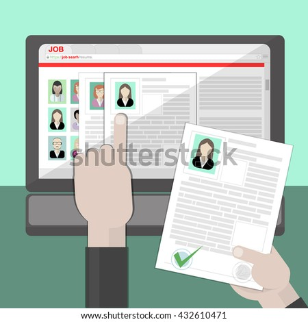 Find resume and hiring. Finding staff on internet. Choose candidate and analyze cv. Professional company resources. - stock vector