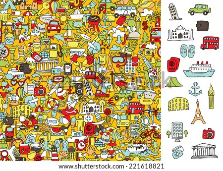 Find right travel icons, visual game. Solution in hidden layer! Illustration is in eps8 vector mode! Each elements are isolated and on separate layers. - stock vector