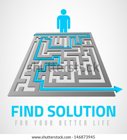 Find solution design with maze and man symbol - stock vector