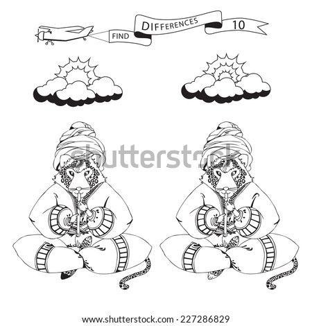 Find ten differences  and coloring page.Funny cartoon leopard. Puzzle for kids. Eps 8 - stock vector