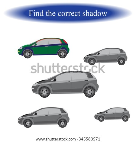 Find the correct shadow ( Car )  for children. Vector illustration - stock vector