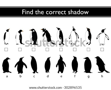 Find the correct shadow (penguin). Match the pictures of penguins to their shadows. - stock vector