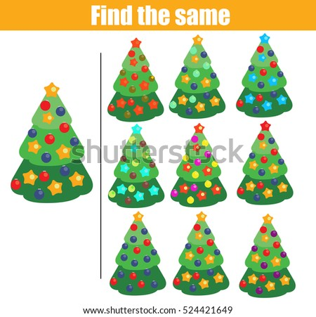 find the same pictures children educational game find equal christmas tree kids activity winter - Christmas Tree Game