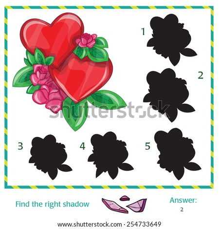 Find the shadow of picture - vector heart - stock vector