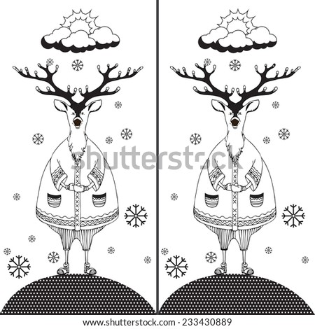 Find the ten differences between the two pictures and Coloring page. Funny cartoon Deer. Puzzle for kids. Hand drawn image. Eps 8 - stock vector