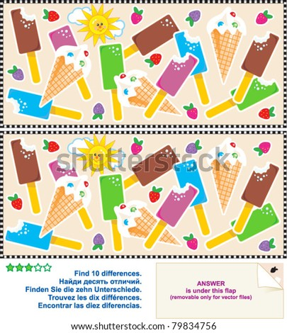 Find the ten differences between the two pictures - yummy ice cream bars and cones ( for high res JPEG or TIFF see image 79834753 ) - stock vector