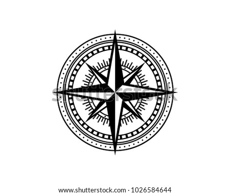 Find The Way With Classic Circle And Compass Symbol Rustic Logo Vector