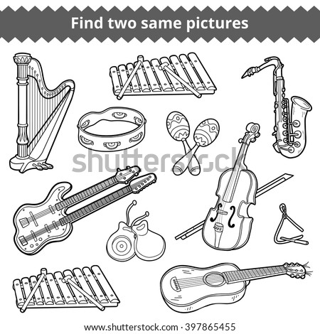 Find two same pictures, education game for children. Vector black and white musical instruments