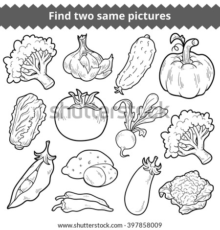 Find two same pictures, education game for children. Vector black and white vegetables