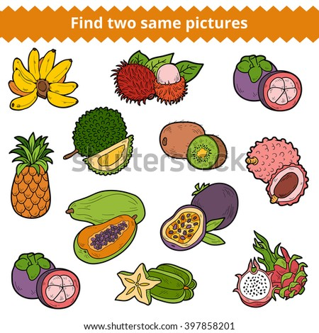 Find two same pictures, education game for children. Vector colorful fruits - stock vector