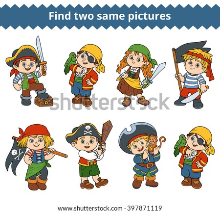 Find two same pictures, education game for children. Vector colorless characters of pirates