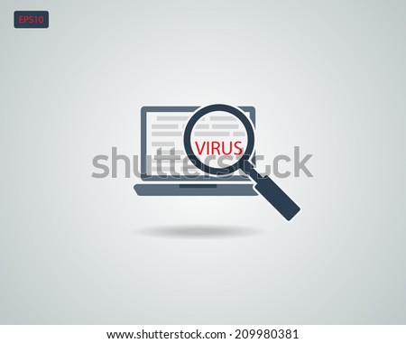 Find Virus with Magnifying Glass on Computer  icon Symbol Concept - stock vector