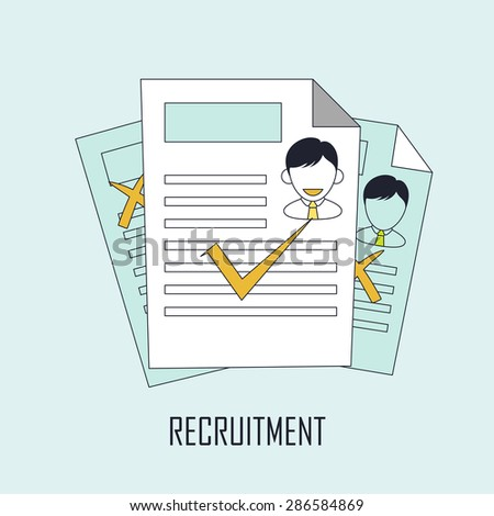 finding job concept: recruitment in line style - stock vector