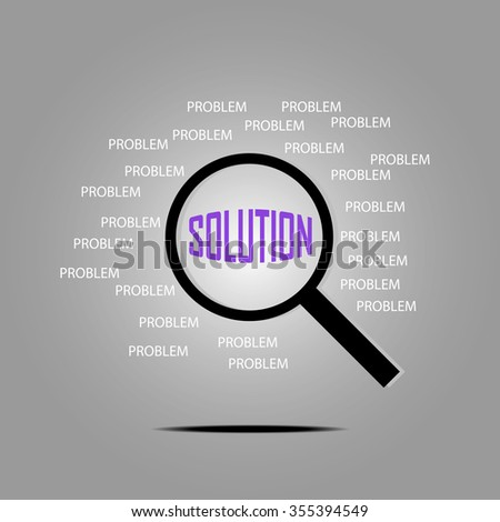 Finding Solution with magnifying glass, solution concept, problem solving