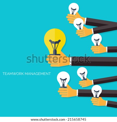 Finding the main idea. Teamwork management concept. Flat ...