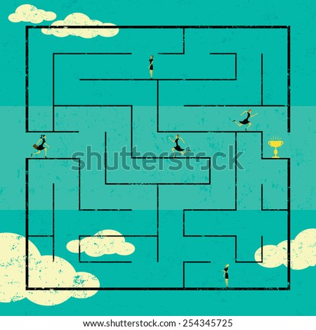 Finding the Path to Success Businesswomen navigating a path to success through a maze. The women are on a separate labeled layer from the background.  - stock vector