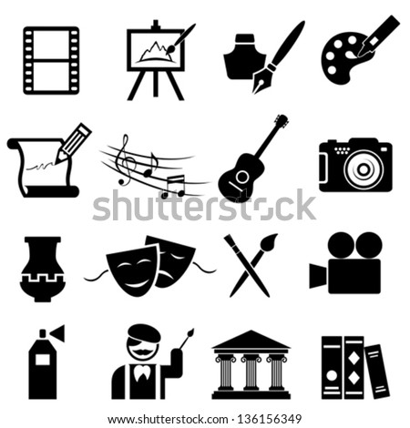 Fine arts icon set in black - stock vector