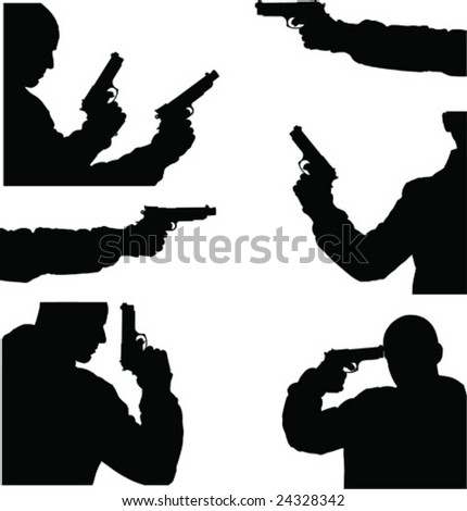 fine black vector image of man and weapon - stock vector
