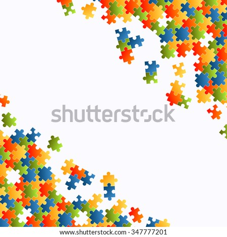 fine colored puzzle pieces on white background - stock vector