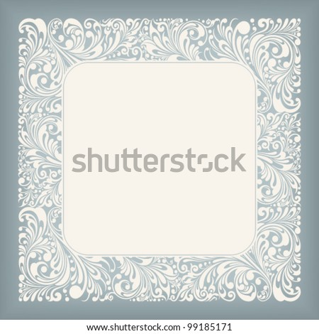 fine floral square frame, vector illustration - stock vector