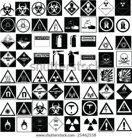 fine hazard signs collection vector - stock vector