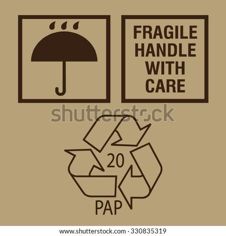 Fine image close-up of grunge black fragile symbol on cardboard - stock vector