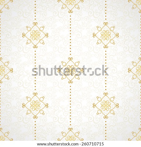 Fine seamless vector pattern with ornate decor. Golden line art decor on light background. Exquisite wallpaper in Eastern style, vintage backdrop, ornate texture. Filigree romantic pattern fill. - stock vector