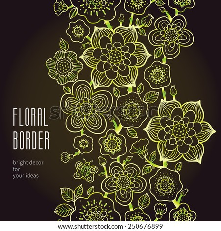 Fine summer vector border with butterfly. Line art floral edging on dark background. Green outline frieze. Decorative element for design, place for text. Lace pattern for invitations, greeting cards. - stock vector