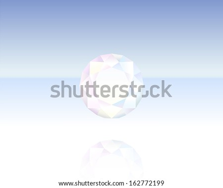 Finely polished crystal in the shape of a brilliant. - stock vector